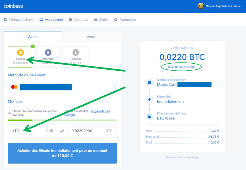 Coinbase achat Bitcoin - Choix montants