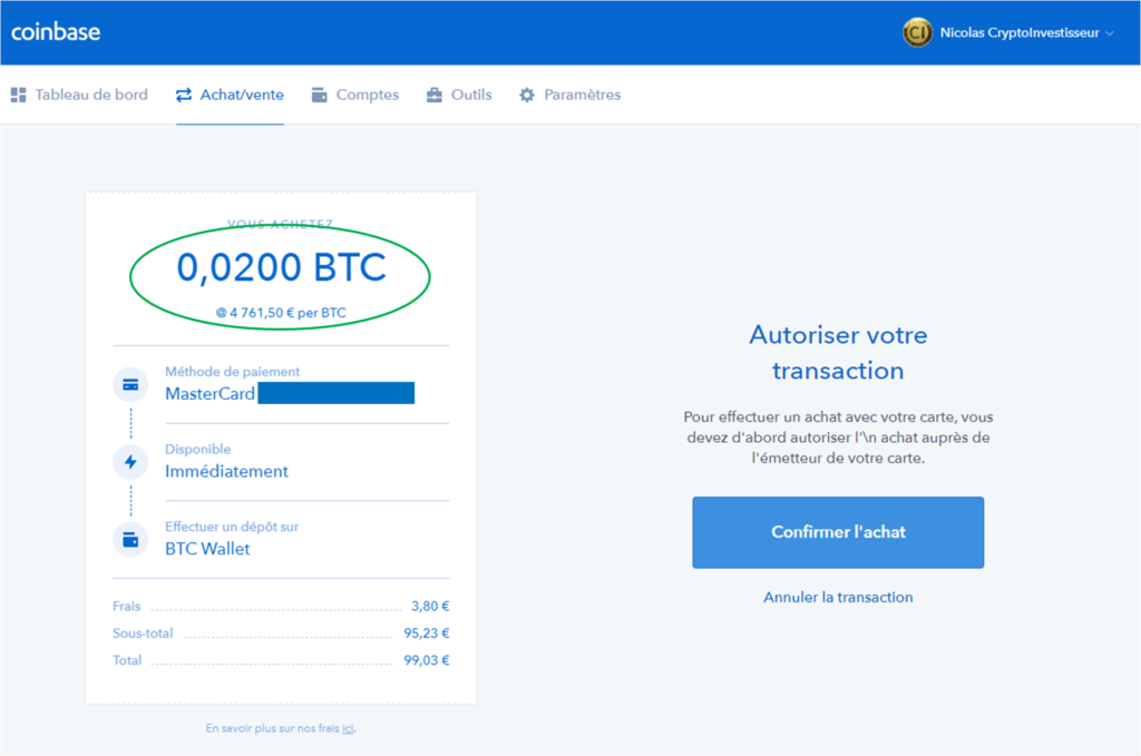 Coinbase achat Bitcoin - Confirmation de la transaction