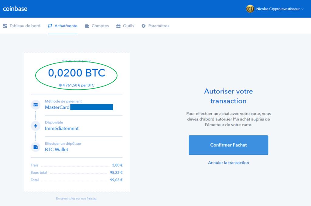 Coinbase achat Bitcoin - Confirmation de la transaction