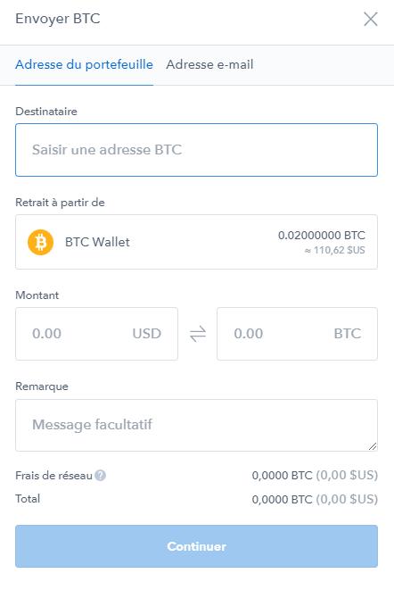 Coinbase achat Bitcoin - Transférer les Bitcoins